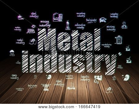 Industry concept: Glowing text Metal Industry,  Hand Drawn Industry Icons in grunge dark room with Wooden Floor, black background