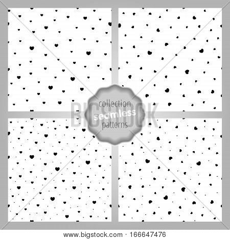 Сute seamless SET of patterns with static-dynamic hearts and dots. Love romantic and Valentine's Day background. Wrapping paper also. Easy and convenient to edit.