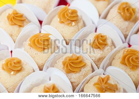 Coconut dessert with milk caramel sauce on top