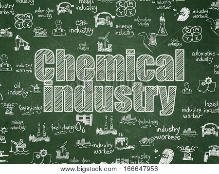 Industry concept: Chalk White text Chemical Industry on School board background with  Hand Drawn Industry Icons, School Board