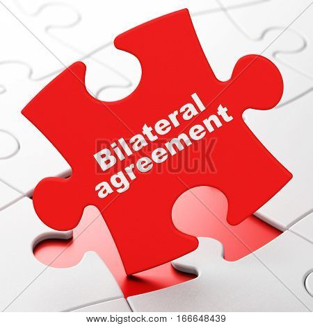 Insurance concept: Bilateral Agreement on Red puzzle pieces background, 3D rendering