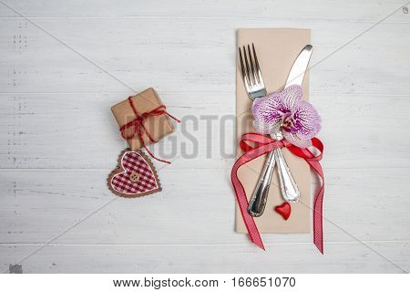 Gift For Valentines Day, Heart, Fork And Knife On Table