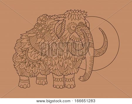Mammoth hand drawn vector illustration. Lace pattern