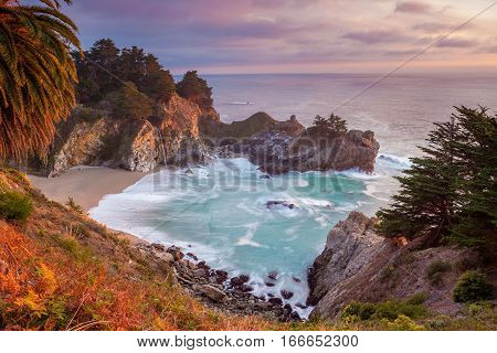 Pacific Coast. Beautiful beach at Julia Pfeiffer Burns State Park located in Big Sure area at Pacific coast, California during sunset.