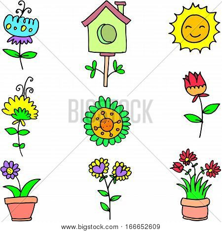 Illustration of spring object doodles collection stock