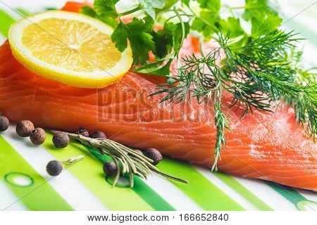 Cooking Fresh Seafood, Raw Sockeye Salmon Fish Fillet & Barbeque Grill