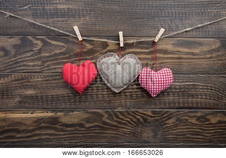 Heart Sewn From Fabric Hanging Ropes Clothespins