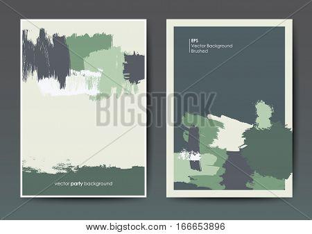 Modern grunge brush design templates, invitation, banner, art vector cards design in green shades