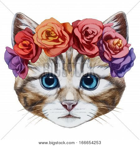 Portrait of Cat with  floral head wreath. Hand-drawn illustration, digitally colored.