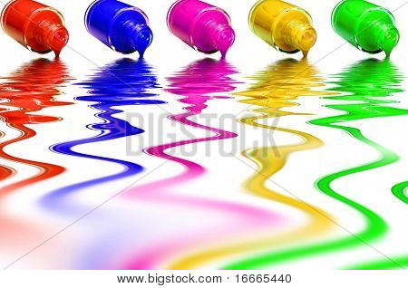 Multicolored varnish on a white background