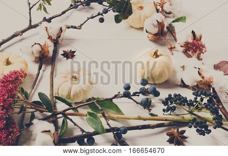 Floral composition. Frame made of dried fall flowers, pumpkins, branches and autumn leaves, also cotton, clove and sloe. Top view on white wood, flat lay, copy space