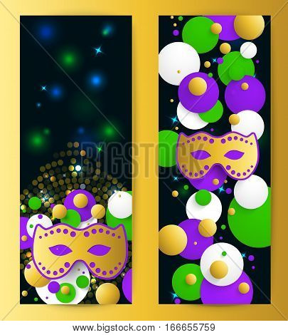 Mardi gras background. Abstract vertical banner. Template for invitation, flyer, poster or greeting card. Carnival mask with beads. Vector illustration.