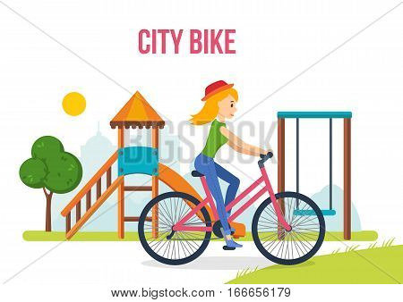Girl in summer clothes, riding a bike on kids playground, on the background of the city and its streets. Engaged in outdoor activities and sports. City bike. Vector illustration.