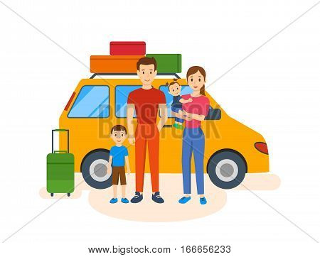 Young family of four, went on a trip in the summer in his car, with the luggage, outdoor activities together. Family travel. Vector illustration. Can be used as banners, commercial materials.