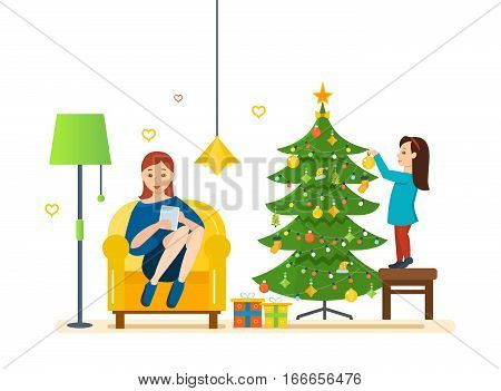 Merry christmas, interior. Girl decorates a xmas tree, festive toys and garlands in its comfortable, cozy and homely atmosphere. Mom resting in a chair with the tablet in her hands.