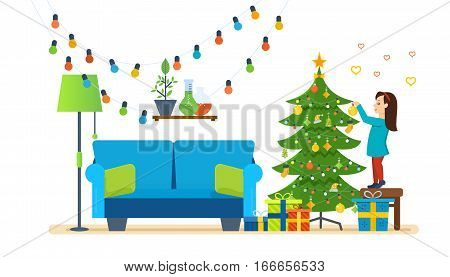 Merry christmas, interior. Children decorates a xmas tree, festive toys and garlands in its comfortable, cozy and homely atmosphere. Vector illustration.