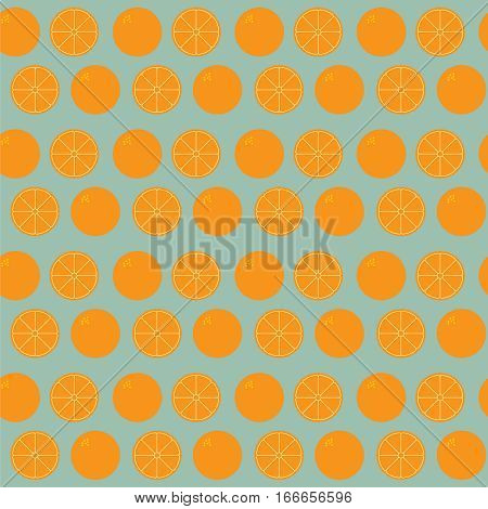 Seamless background of whole and sliced orange icon