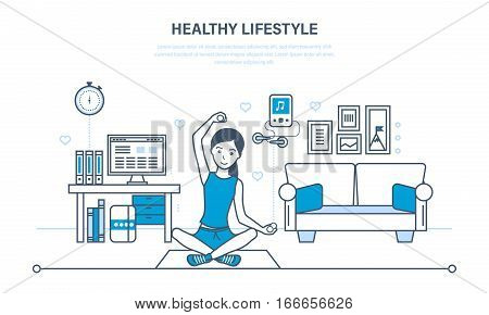 Healthy lifestyle, interior of room. Girl is engaged in gymnastics, yoga in room, engaged in fitness, promote health and body. Illustration thin line design of vector doodles, infographics elements.