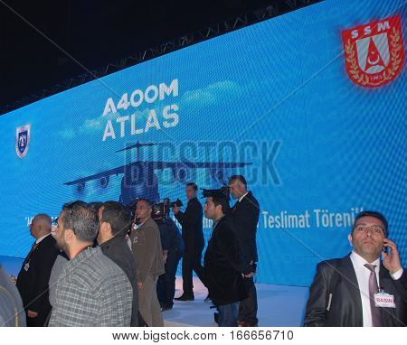 KAYSERI, TURKEY - MAY 12, 2014 : Media and press members are at the Erkilet Air Force Base of TURAF during the A400M Atlas Military aircraft delivery ceremony.