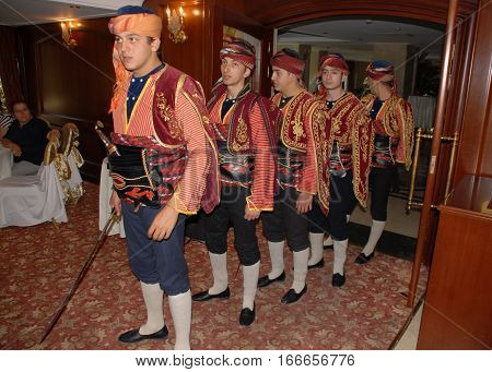ANKARA, TURKEY - SEPTEMBER 29, 2013: Historic Seljuk Military's Segban performed a show during the opening ceremony of cultural event at Akar International Hotel in Ankara.