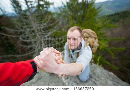 Close-up Of Helping Hand, Hiking Help Each Other