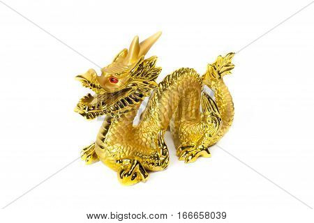 Golden traditional chinese dragon isolated on white background. Feng Shui statuette.