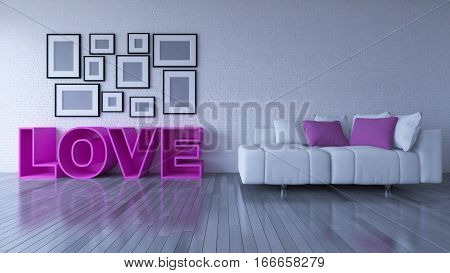 3d rendering image of interior design living room. the pink color sofa set and word