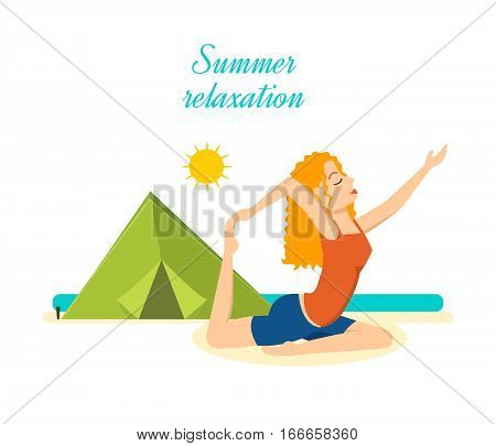 Summer relaxation. Girl relaxes and restores power to the beach, a beautiful summer day, relaxing and doing yoga. Vector illustration. Can be used as banner, commercial materials.