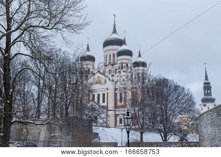 TALLINN ESTONIA - 4TH JAN 2017: A view towards the Alexander Nevsky Cathedral on Toompea Hill during the day. Snow can be seen.