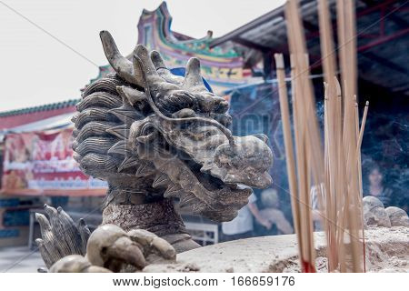 Chinese New Year at Chinese Temple, dragon and pray