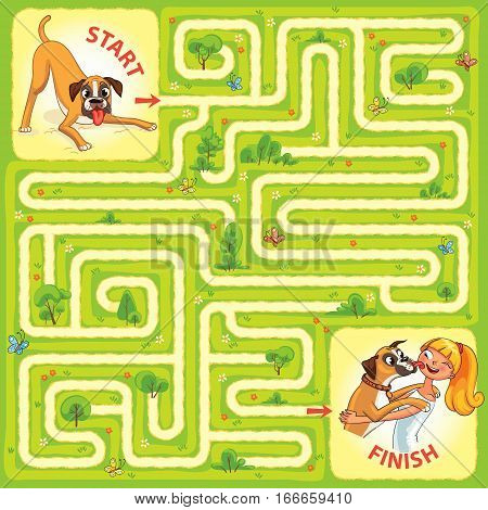 Help the dog to find the right way. Help pet find their owner. Maze Game with Solution. Tangled lines. Funny cartoon character. Vector illustration