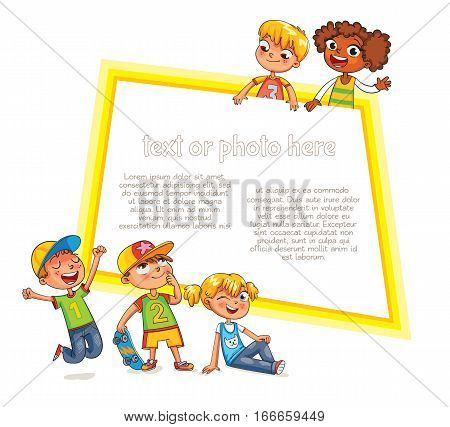 Template for advertising brochure. Ready for your message. Children look up with interest. Kid pointing at a blank template. Funny cartoon character. Vector illustration. Isolated on white background