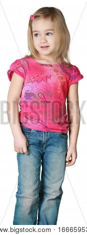 Friendly Little Girl with Medium Blond Hair Standing and Staring - Isolated