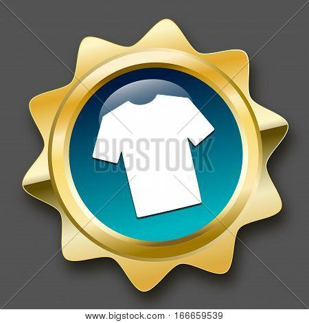 Fashion seal or icon with shirt symbol. Glossy golden seal or button.