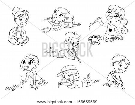 Little children draw pictures pencils and paints laying on the floor. Funny cartoon character. Vector illustration. Coloring book