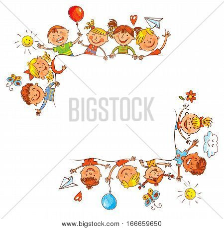 Group of children with blank white board. Ready for your message. In the style of children's drawings. Freehand drawing. Vector illustration. Isolated on white background