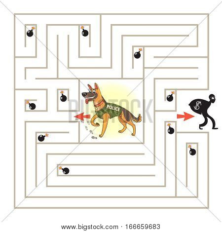 Help the dog to find the right way and catch the criminal. Maze Game with Solution. Tangled lines. Funny cartoon character. Vector illustration. Isolated on white background