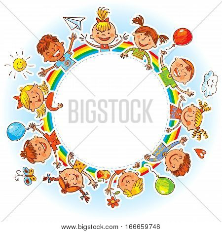 Happy children holding blank poster. Ready for your message. In the style of children's drawings. Freehand drawing. Vector illustration. Isolated on white background