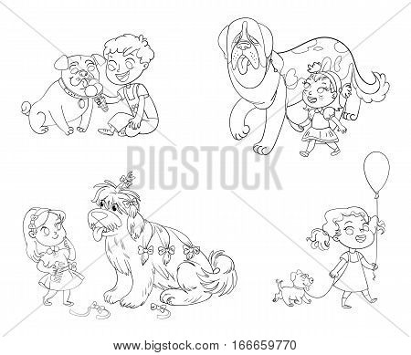 Boy and dog eating one ice-cream. Little girl walking with big St. Bernard. Beautiful girl is combing her dog with brush. Child walking with dog on leash. Funny cartoon character. Coloring book