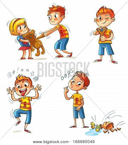 Bad behavior. The boy wants to take the girl's toy. Boy broke a vase. Bully with a slingshot shooting. Boy grimace and sticks out his tongue. Funny cartoon character. Isolated on white background. Set