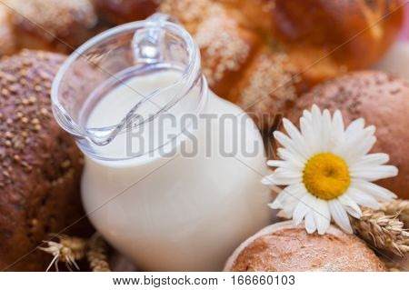 Jug of Milk with Bread and Wheat Spikes