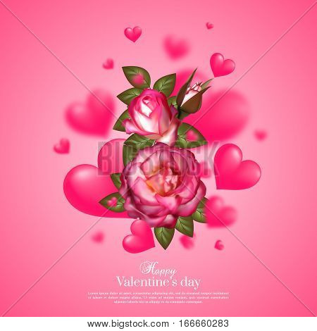 Realistic 3d floral Valentines day card with floating blur hearts and roses. Happy Valentines day greeting background. Vector illustration.