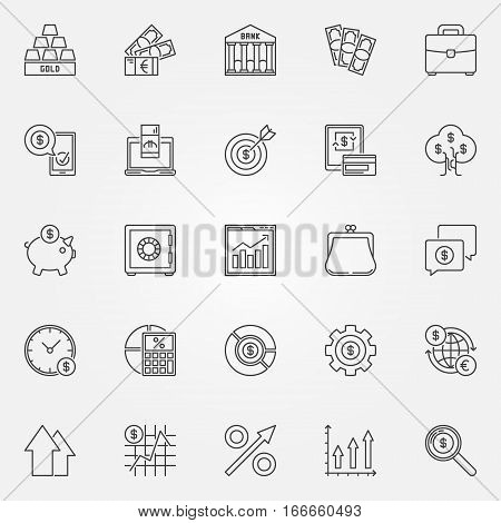 Investment icons set - vector business and financial concept symbols or logo elements in thin line style