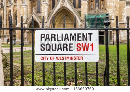 LONDON UK - 9TH MARCH 2015: A sign for Parliament Square in central London during the day