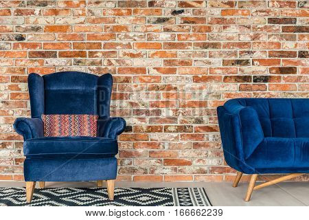 Blue Upholstered Armchair