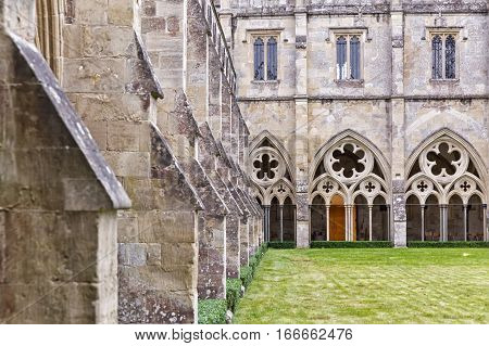 SALISBURY ENGLAND - October 2016: Salisbury Cathedral formally known as the Cathedral Church of the Blessed Virgin Mary - it has the tallest church spire in the United Kingdom