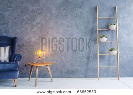 Copper Lamp And Side Table