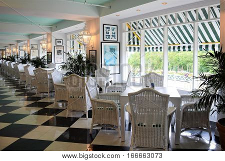 MACKINAC ISLAND, MI - JULY, 2016:  The seating area for afternoon snacks inside the famous Grand Hotel.