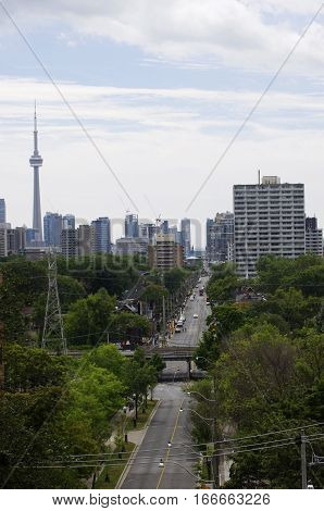 bird's eye view of Toronto street with CN tower