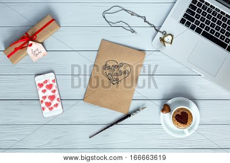 Cozy Working Place On Wood Flat Lay On Valentines Day
